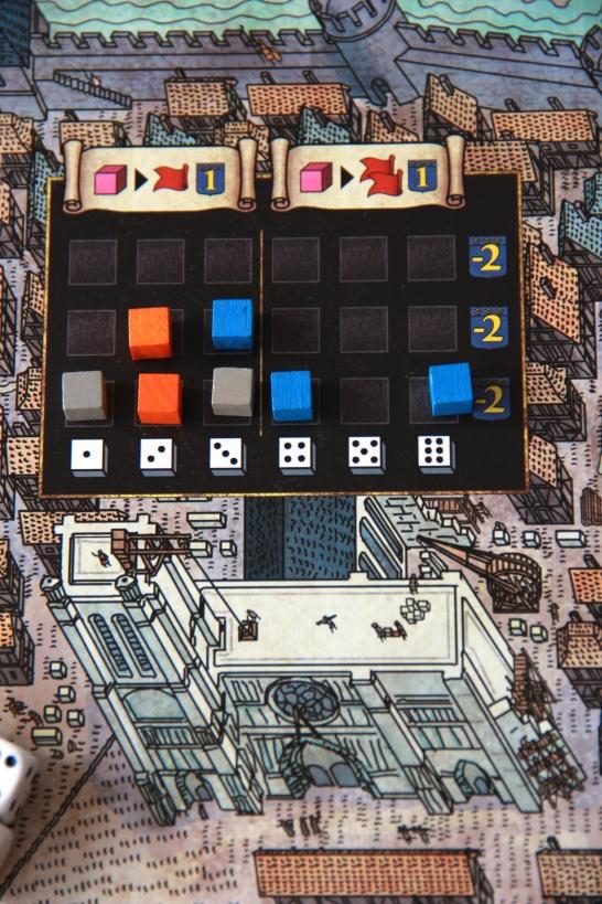Budowa katedry w grze dwuosobowej, z szarymi znacznikami gracza neutralnego
