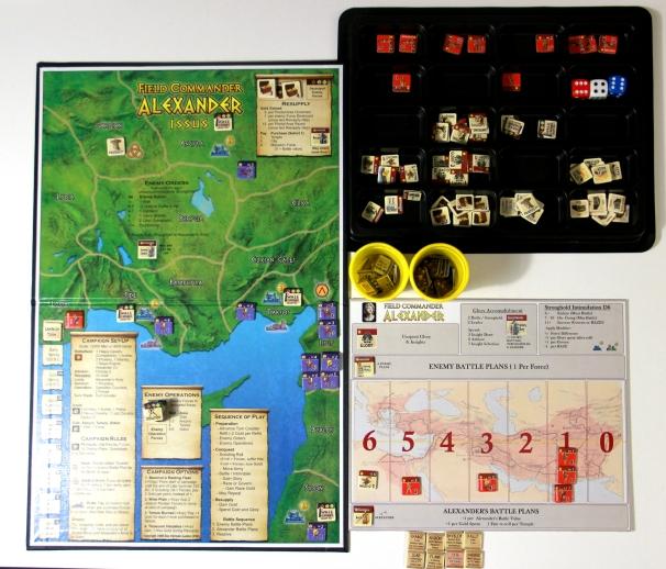 Gra przygotowana do rozpoczęcia partii - (tacka, kubeczki i planszetka bitwy nie znajdują się w pudełku z grą).